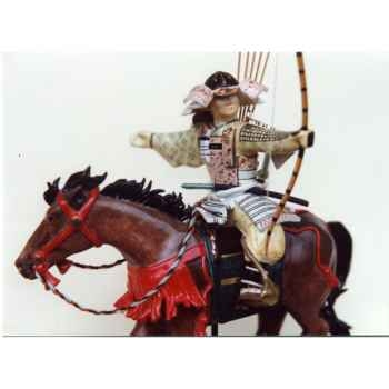 Figurine Samourai peinte Gilles Carda Cavalier Arc violet -36C