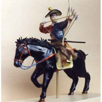 Figurine Samourai peinte Gilles Carda Cavalier Arc Yabusame Moderne -53C