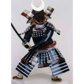 Figurine Samourai peinte Gilles Carda Katana Chine noir -71C