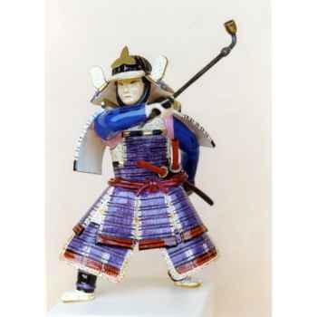 Figurine Samourai peinte Gilles Carda Pipe violette -85C