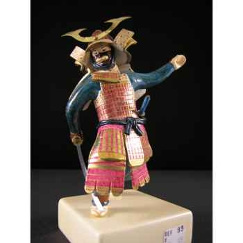 Figurine Samourai peinte Gilles Carda Katana rose et or -93C