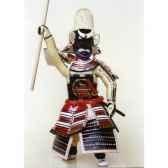 figurine samourai peinte gilles carda bo rouge blanc 115c