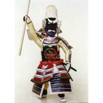 Figurine Samourai peinte Gilles Carda Bo rouge blanc -115C