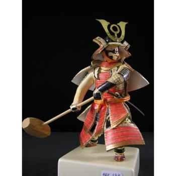 Figurine Samourai peinte Gilles Carda Massues rouge et or -138C