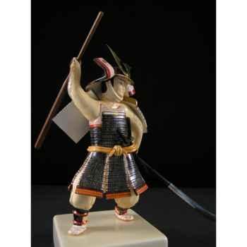 Figurine Samourai peinte Gilles Carda Massue et Naginata noires -141C