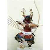 figurine samourai peinte gilles carda arc 2 poissons 142c