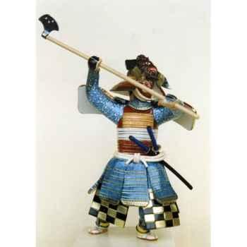 Figurine Samourai peinte Gilles Carda Hache bleue -146C
