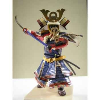 Figurine Samourai peinte Gilles Carda Nodashi bleu -154C