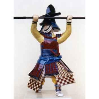 Figurine Samourai peinte Gilles Carda Naginata Poisson Chat -164C
