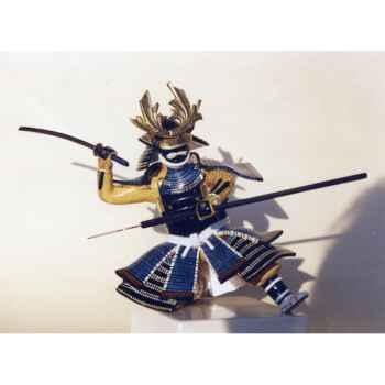 Figurine Samourai peinte Gilles Carda Katana Yari bleu -168C