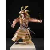 figurine samourai peinte gilles carda sai beige or 170c