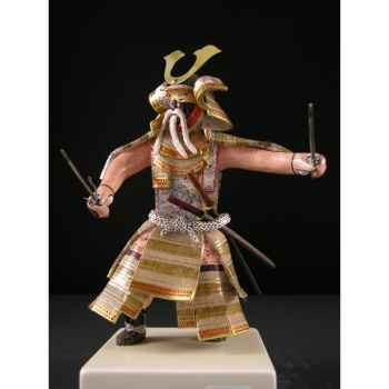 Figurine Samourai peinte Gilles Carda Sai beige or -170C