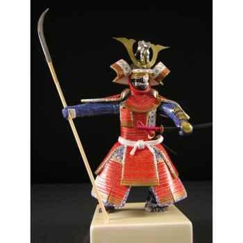 Figurine Samourai peinte Gilles Carda Naginata rouge -173C