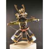 figurine samourai peinte gilles carda katana bleu nuit 174c
