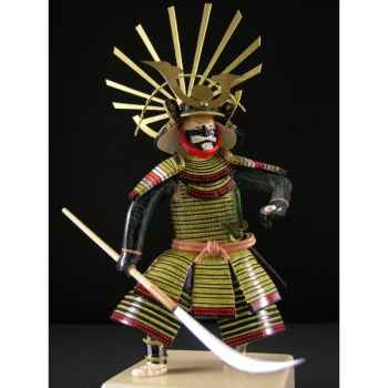Figurine Samourai peinte Gilles Carda Naginata vert -177C