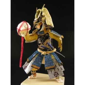 Figurine Samourai peinte Gilles Carda Conque bleue -181C