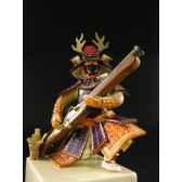 figurine samourai peinte gilles carda arquebuse rouge 182c