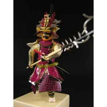 Figurine Samourai peinte Gilles Carda Sodegarami rouge -183C