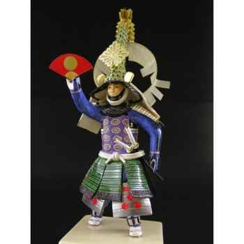 Figurine Samourai peinte Gilles Carda Paon or vert -184C