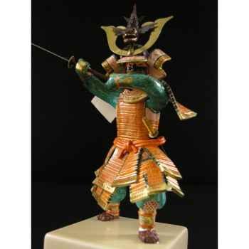 Figurine Samourai peinte Gilles Carda Nodashi orange et or -186C