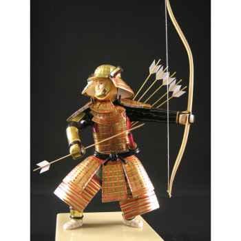 Figurine Samourai peinte Gilles Carda Kyudo or -187C