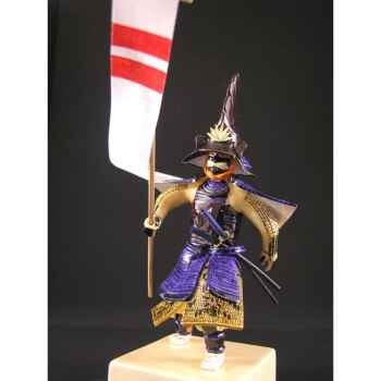 Figurine Samourai peinte Gilles Carda Hata Feuilles de Chêne -189C