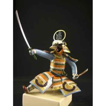 Figurine Samourai peinte Gilles Carda Katana Kanji noir -192C