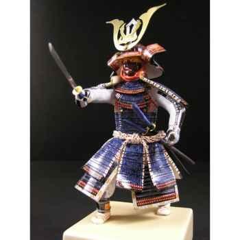 Figurine Samourai peinte Gilles Carda Tanto bleu -195C
