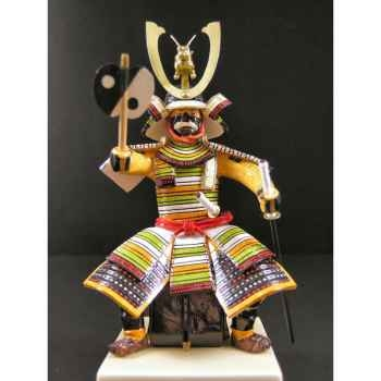Figurine Samourai peinte Gilles Carda Gunbai Assis -198C