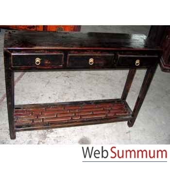 Console 3 tiroirs noire style Chine -CHN076N
