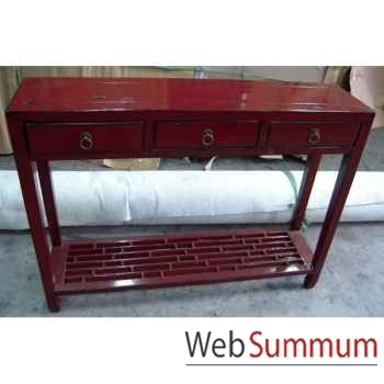 Console bas caillebotti rouge style Chine -CHN076R