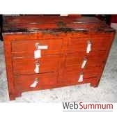 commode 6 tiroirs rouge vieilli style chine chn104