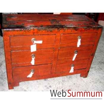Commode 6 tiroirs rouge vieilli style Chine -CHN104