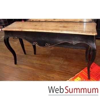 Console pied Louis XVI noire plateau style Chine -C2309N-NAT