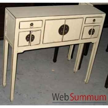 Console coiffeuse 2 portes et 4 tiroirs crème style Chine -C0425CR