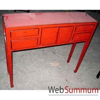 Console coiffeuse 2 portes et 4 tiroirs rouge style Chine -C0425R