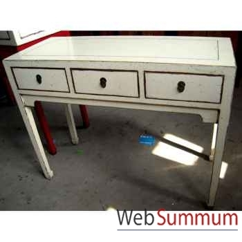 Console 3 tiroirs blanche style Chine -C0951BL
