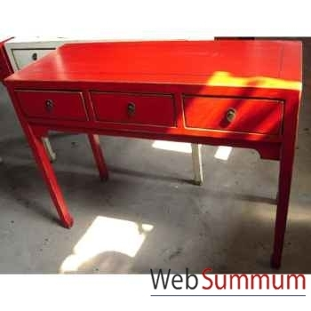 Console 3 tiroirs rouge style Chine -C0951R