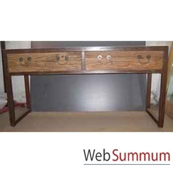 Console 2 tiroirs fer et vieil orme brut style Chine -C0971
