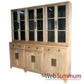 bibliotheque 6 portes vitrees 3 tiroirs bas et 6 portes pleines style chine c0580nat