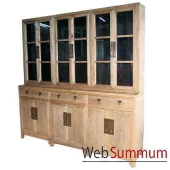 Bibliothèque 6 portes vitrées, 3 tiroirs bas et 6 portes pleines style Chine -C0580NAT