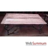 table basse pied fer forge plateau style chine c2303nat