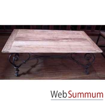 Table basse pied fer forge plateau style Chine -C2303NAT