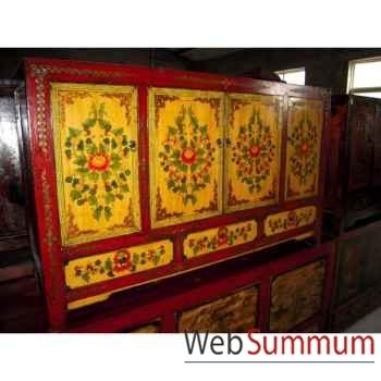 Buffet 4 portes et 3 tiroirs dongbei jaune style Chine -C3002J