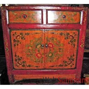 Buffet tibetain 2 portes et 2 tiroirs peint style Chine -C3003