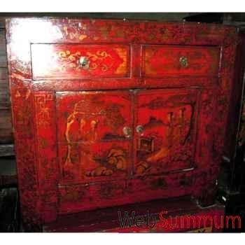 Buffet 2 portes et 2 tiroirs rouge laqué style Chine -C3005