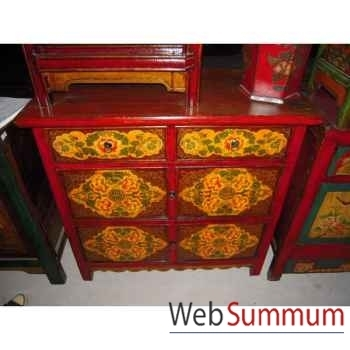 Buffet 4 portes et 2 tiroirs tibetain style Chine -C3009