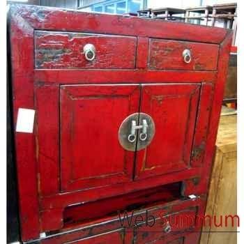 Buffet rouge petit modèle 2 portes et 2 tiroirs style Chine -CHN032