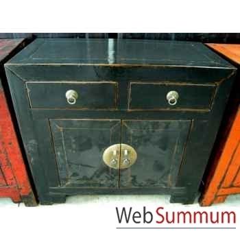 Buffet noir 2 portes et 2 tiroirs noir style Chine -CHN032-N