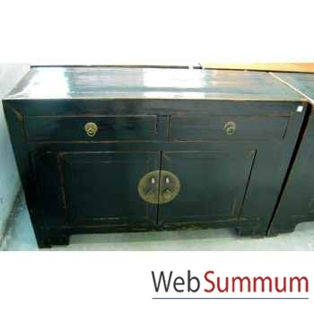 Buffet grand modèle 2 portes et 2 tiroirs noir style Chine -CHN035-N